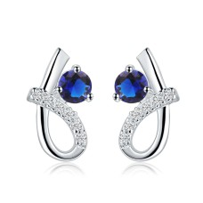 Blue & Silver-Plated Fashion Earrings