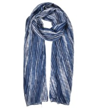Fashion Women Laser Line Pattern Winter Scarf - Navy