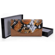 Colourful Snakeskin Hasp Fashion Wallet - Tan