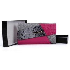 Patchwork Snakeskin Hasp Fashion Wallet - Fuchsia