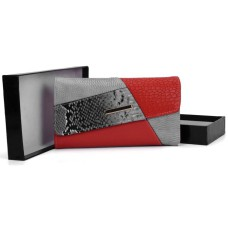 Patchwork Snakeskin Hasp Fashion Wallet - Red