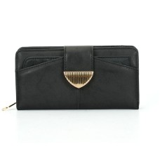 Fashion Metal Button Solid Long Wallet - Black
