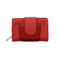 Compact Patchwork Rugged Wallet - Red