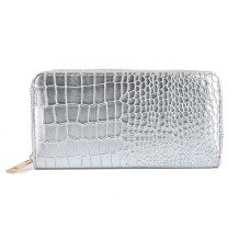 Snakeskin Pattern Fashion Women Wallet - Silver