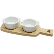 Twin Ceramic Dip Dishes On Bamboo Wood Heart Tray With Handle - Round