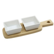 Twin Ceramic Dip Dishes On Bamboo Wood Heart Tray With Handle - Square