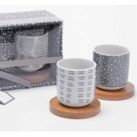 Amadeus Gift-Boxed Set of 4 Espresso Cups on Mini Wooden Saucers