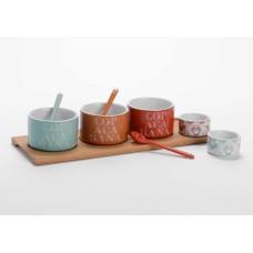 Amadeus Set of 3 Copacabana Bowls and 2 Dip Dishes on Bamboo Platter