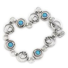 AVIV SILVER - Stunning Handmade Round Opal Stones Bracelet