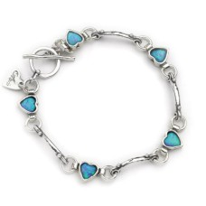 AVIV SILVER - Beautiful Handmade Opal Hearts Links Bracelet