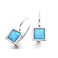 AVIV SILVER - Fire Opal Sterling Silver Square Drop Earrings
