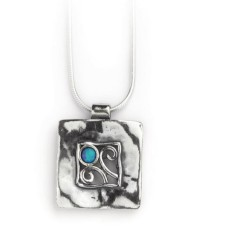 AVIV SILVER - 925 Silver Square Pendant Necklace with Opal Stone