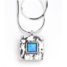 AVIV SILVER - Beautiful Square Pendant Necklace with Opal Stone