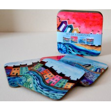 Bridget Wilkinson - Set of 4 Colourful Coastal Coasters