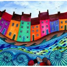 Bridget Wilkinson - Bobbing Along - Colourful Coastal Art Card