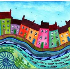 Bridget Wilkinson - Huddled - Colourful Coastal Art Card