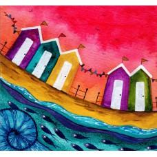 Bridget Wilkinson - Pink Skies - Colourful Coastal Art Card