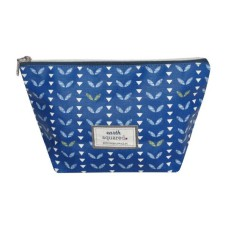 Earth Squared Navy Leaf Oil Cloth Make-Up Bag - Large