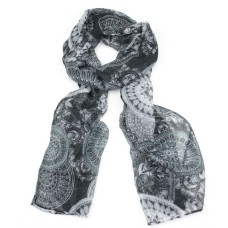 Soft Black Intricate Print Scarf
