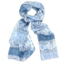 Blue Patterned & Striped Scarf
