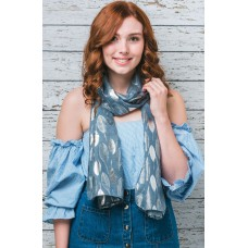Foil Leaf Grey-Blue Scarf