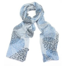 Stylized Flower Head Design Grey Scarf