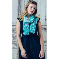 Lilybeth Green Floral Design Print Scarf