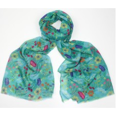 Naomi Turquoise Floral Printed Scarf