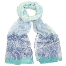 Seashell Print Design Blue Scarf