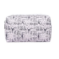 Small Beige Eiffel Tower Print Cosmetic Bag