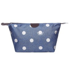 Blue Polka Dot Print Nylon Wash Bag