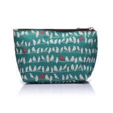 Green Bird Print Make-up Bag