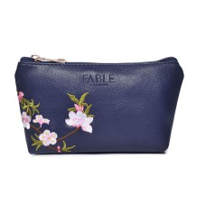 Blue Blossom Embroidered Make-Up Bag