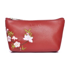 Red Blossom Embroidered Make-Up Bag
