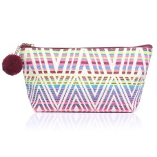 Small Aztec Print Canvas Make-Up Bag