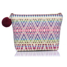 Medium Aztec Print Canvas Make-Up Bag