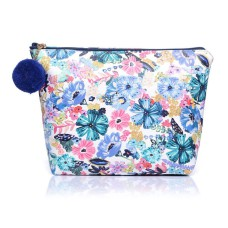 Medium Blue Floral Leatherette Make-Up Bag