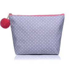 Medium Grey Polka Dot Make-Up Bag