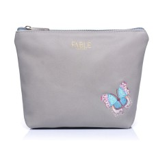 Grey Embroidered Butterfly Make-Up Bag