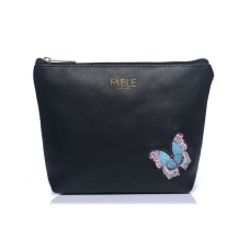 Black Embroidered Butterfly Make-Up Bag