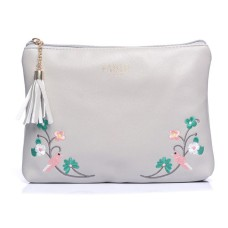 Grey Bird Embroidered Make-Up Bag
