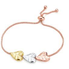 Triple Tone Heart Bracelet