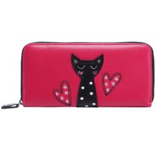Applique Red Cat Design Purse