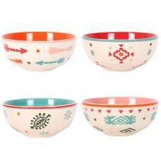 Set of 4 Boho Bandit Hand-painted Bowls