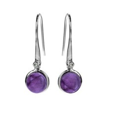 Round Bezel-Set Amethyst with CZ Earrings