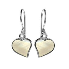 Silver & Mother of Pearl Heart Design Earrings