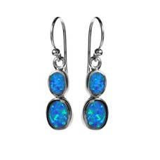 Silver Double Oval Opalique Drop Earrings