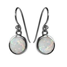 Silver Circular Opalique Earrings