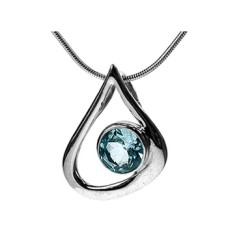 Open Teardrop & Round Blue Topaz Pendant Necklace