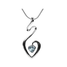 Swirly Heart Blue Topaz Pendant Necklace